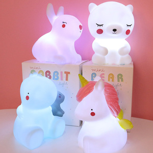 Cartoon Unicorn Giraffe Dinosaur Bear Lamp Night Light Children Kids Toys Birthday Xmas Gift Home Decorations Drop Shipping(China)