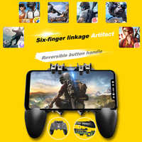 AK66 Six Fingers PUBG Game Controller Gamepad Metal Trigger Shooting Free Fire Gamepad Joystick For IOS Android Mobile Phone