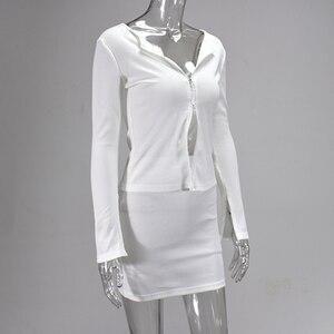 Image 4 - Colysmo מצולעים לסרוג 2 חתיכה להגדיר נשים Bodycon ארוך שרוול רוכסן חולצות מוצק מיני חצאיות סט Slim מסיבת שתי חתיכה סט מועדון תלבושת