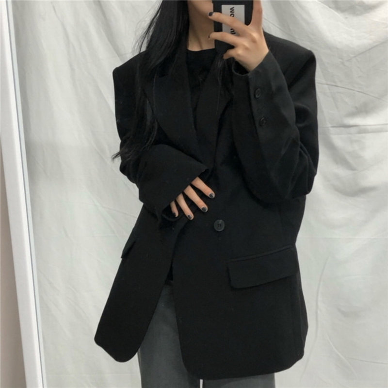 HziriP New Style Loose Solid Elegant Retro Slender Office Lady Blazers 2020 New Notched Work Wear Tops Femme Women Blazer Coat