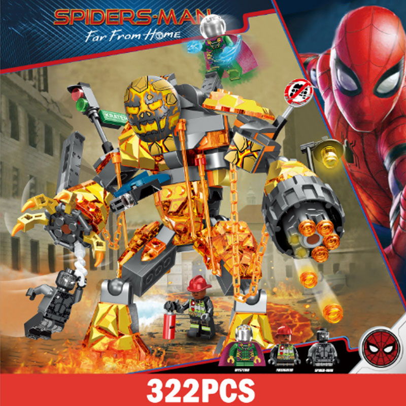322pcs legoinglys Avengers Super Heroes Marvel Molten Spider Man Venom Spiderman Far From Home Building Blocks Brick Toy Figure