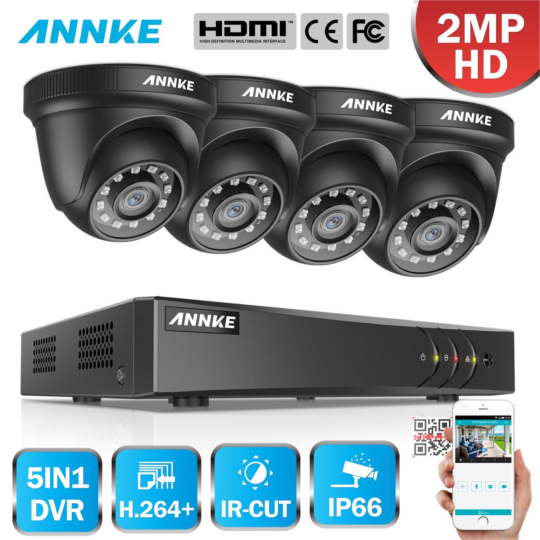 ANNKE 1080P CCTV Kamera DVR System 4 stücke Wasserdichte 2.0MP HD-TVI Schwarz Dome Kameras Home Video Surveillance Kit Motion erkennung