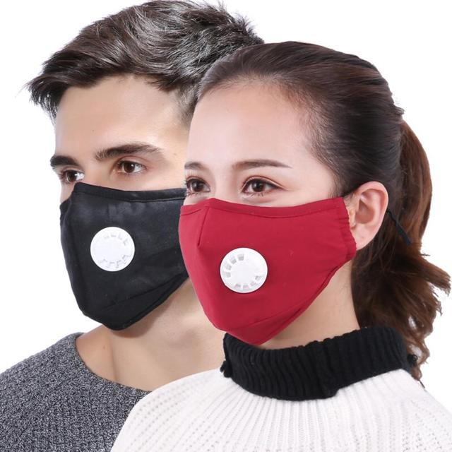 Cotton PM2.5 Black mouth Mask Anti Haze Anti-dust Mask Activated Carbon Filter Respirator bacteria proof Flu Face masks Washable