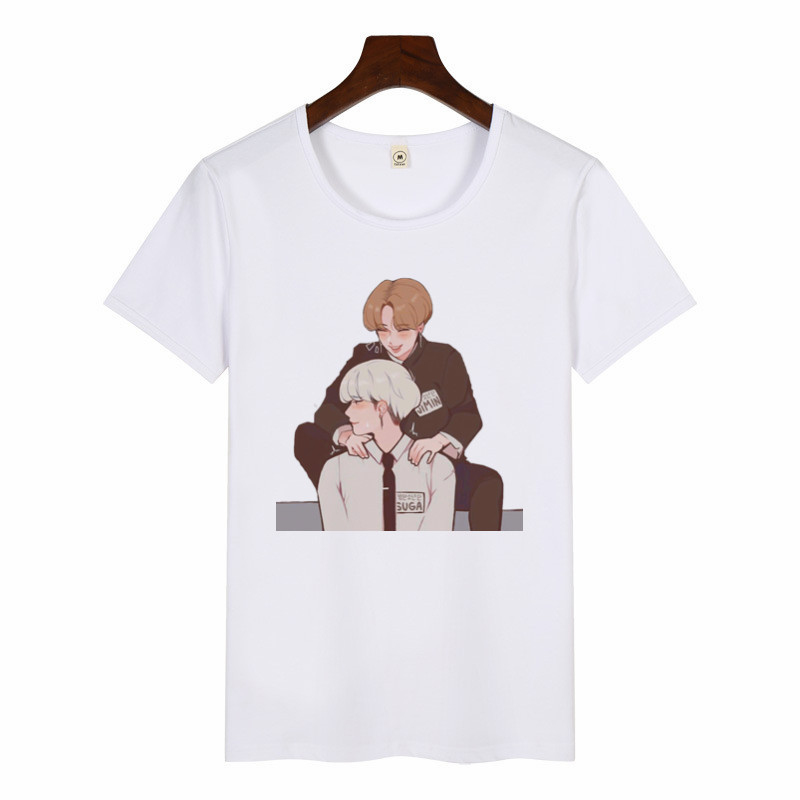 Women SUGA JIMIN Album Print T-Shirt Female Korean Style Harajuku Tshirt Kawaii Cartoon Graphic Print Top Tee Casual T Shirt