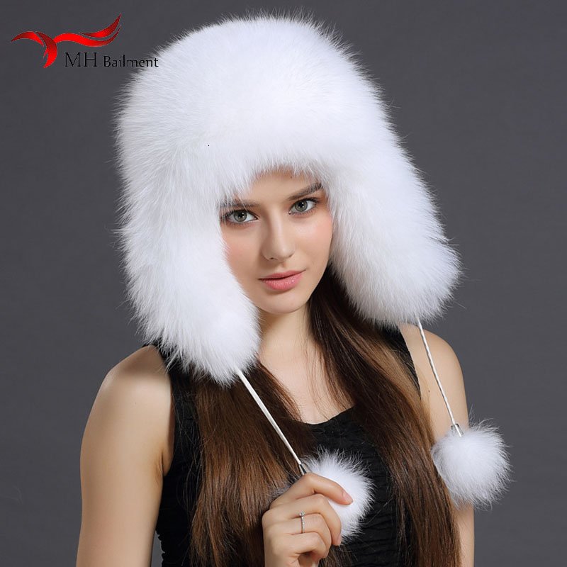Russia Hot Fashion Winter Raccoon Bomber Fox Fur Hat With Women Ear Flaps Thick Warm Winter Hat Ladies Fashion Warm Color Hat