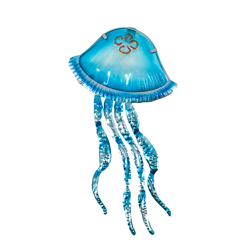 Metal Jellyfish Wall Decor With Glass For Home Garden Decoration And Miniatures Garden Statues Outdoor Fairy Garden Ornaments