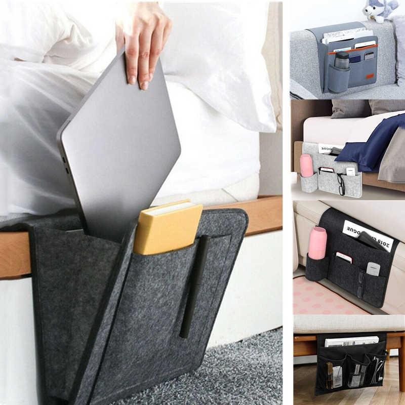 USA Hanging Sofa Felt Bag Bedside Storage Organizer Bed Felt Pocket Phone Holder