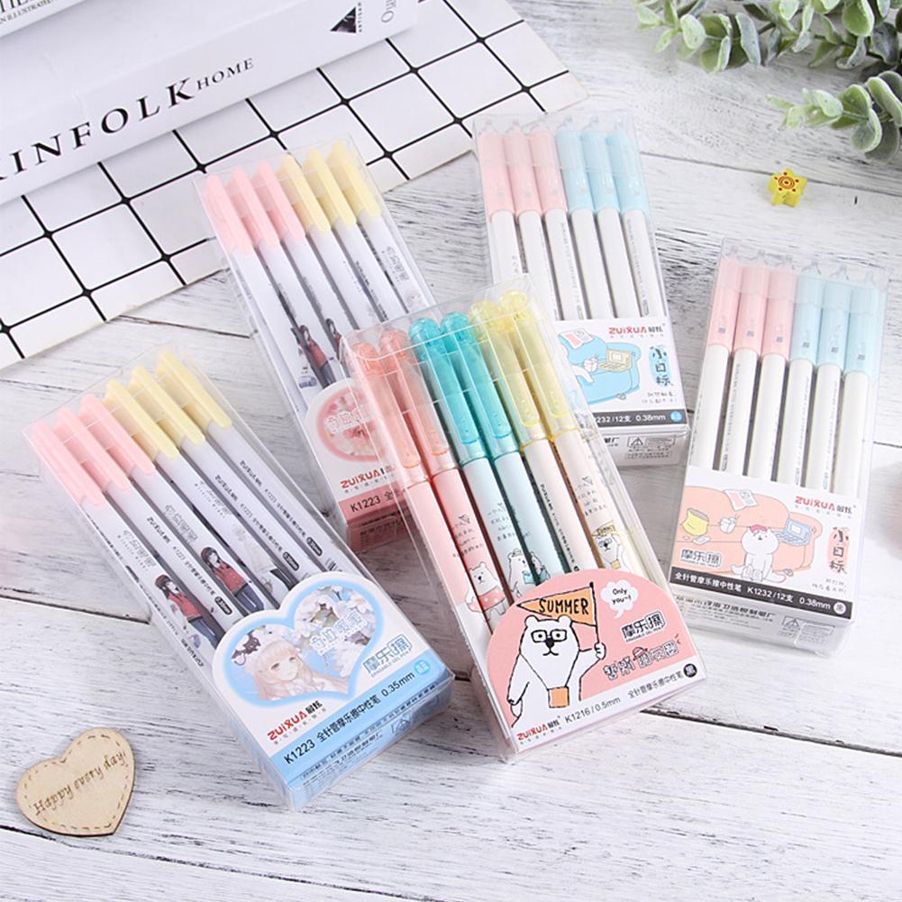 3Pcs 0.38/0.55 Mm Kawaii Gel Ink Pen Erasable Pen Loss Student Stationery For School Office Writing Pen Erasable Gel Pen
