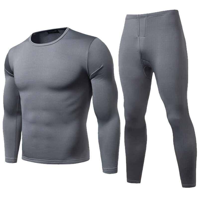 Mens 2ps Thermal Underware Fleece Thermos Warm Long Winter Set Top And Bottom Fitness And Quick-Drying Clothes Gym Equipment