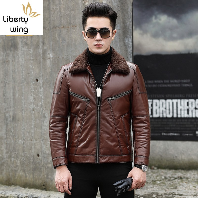Men Wool Collar Cowhide Genuine Winter Warm White Duck Down Coat Fashion Motorcycle Cow Leather Jacket Outwear