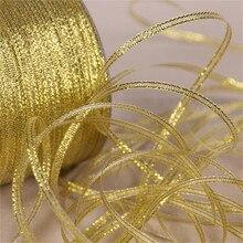 25 ярдов, 6 мм, серебристая/Золотая шелковая атласная лента, вечерние, для дома, свадебные украшения, подарочная упаковка, Рождественский Скрапбукинг, инструменты для рукоделия
