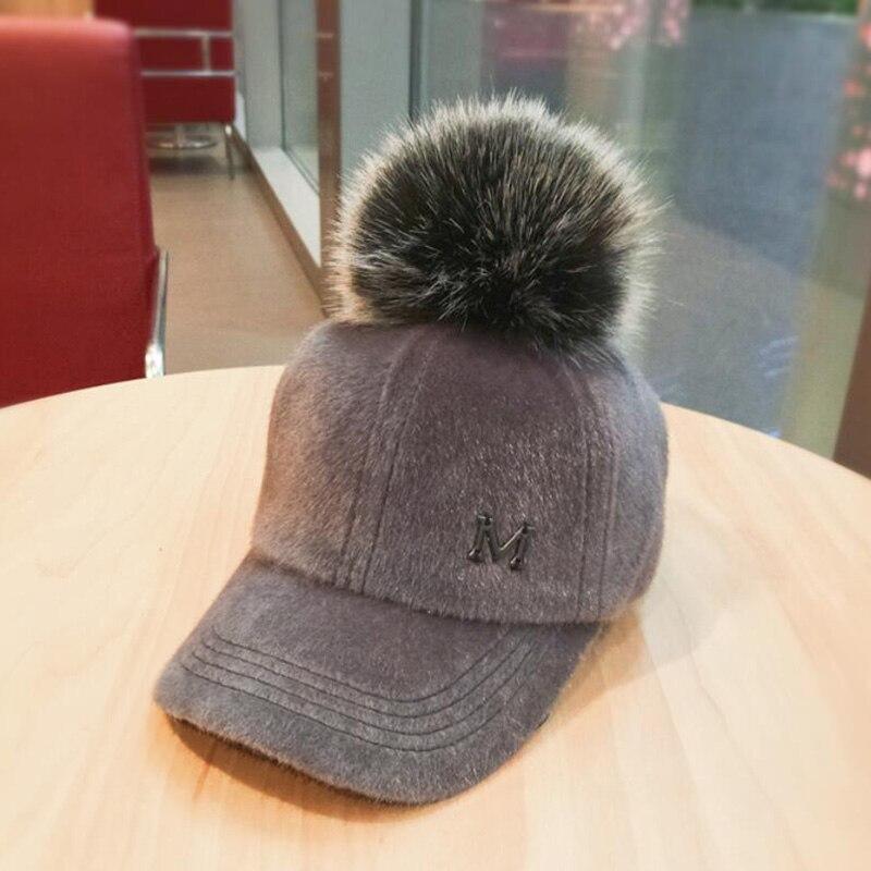 Sombrero grueso de piel para mujer, gorra de béisbol con letras M, gorras de béisbol, gorros de hueso curvos ajustados, sombreros de papá vintage lavados para invierno
