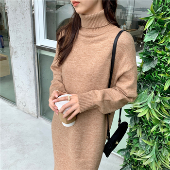 Women Loose O Neck Knitted Sweater Dress Solid  Long Sleeve Soft Autumn Winter Casual Midi Dress Vestidos 2019 spring new women half sleeve loose flavour black dress long summer vestido korean fashion outfit o neck big sale costume