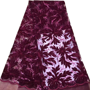 Latest Onion Color French Nigerian Lace Fabrics Sequins African French Velvet Tulle Lace African Lace Fabric Wedding