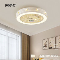 50 cm invisible led ceiling fan lamp lighting ventilator lamp bedroom decor fans with lights remote control 220v
