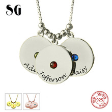 Hot Personalized Customizable Disc and Birthstone Necklace 925 Sterling Silver Necklaces & Pendants For Women Jewelry Gifts personalized necklaces 925 sterling silver engraved necklaces diy personalized jewelry family children mother pendants necklace