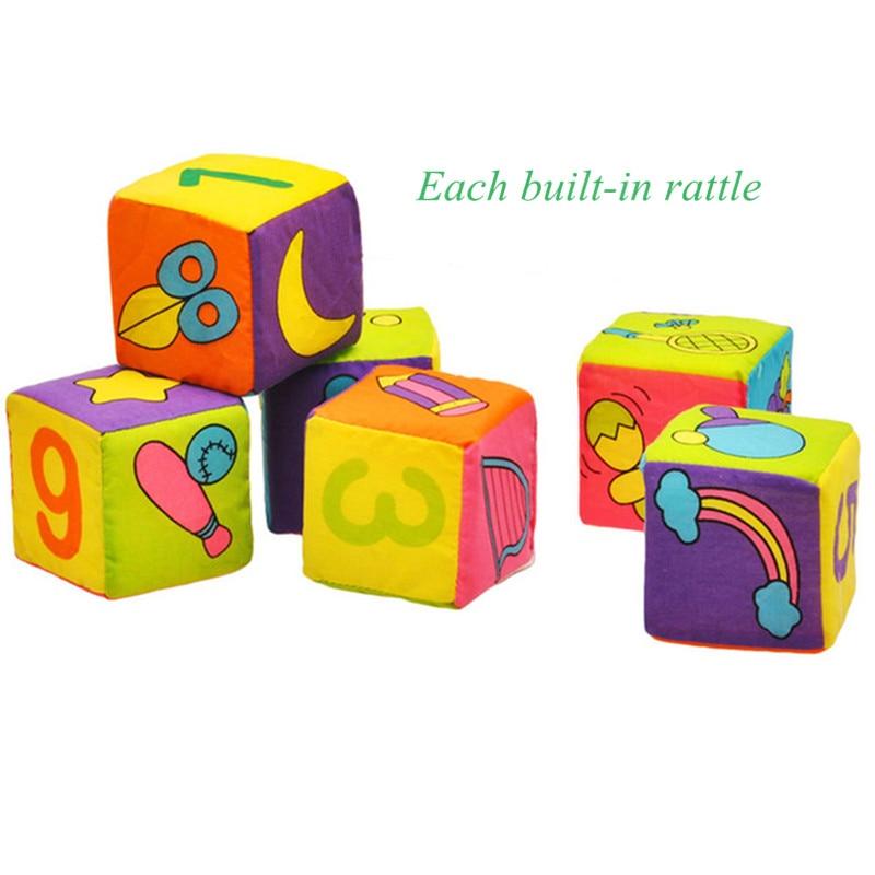 6 pçs/set Pano Blocos de Construção Nova Infantil Baby Rattle precoce Educacional Do Bebê Brinquedo de Pelúcia Macia Da Boneca de Pano Macio Conjunto Cubo