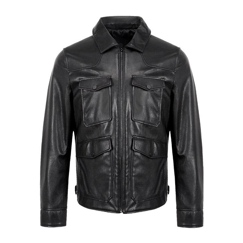 Free Shipping.man Classic Sheepskin Jackets,men's Genuine Leather Jacket.fashion Casual Slim Coat Plus Size Clothes Winter