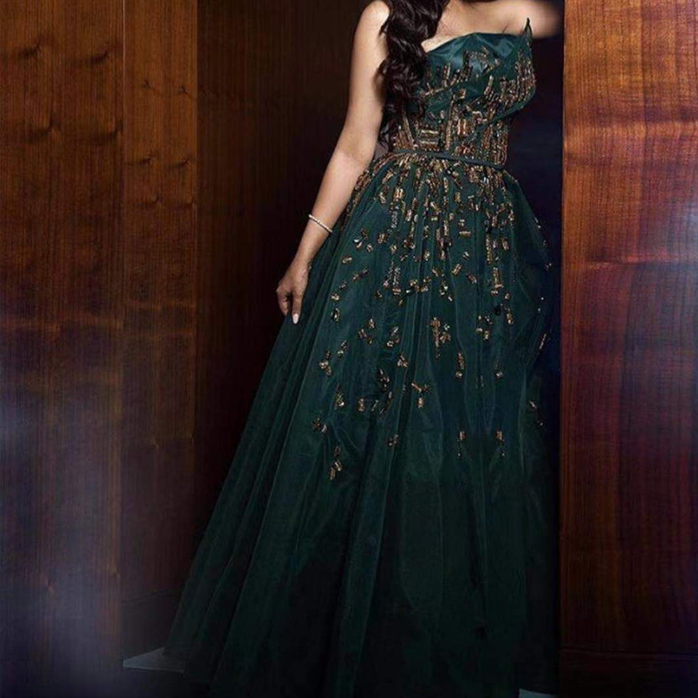 Green Prom Dresses 2020 Beading Pearls A Line Tulle Floor Length Arabic Evening Dresses Gowns