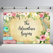 冒険開始背景世界地図花ベビーシャワーの誕生日背景旅行結婚式のシャワー背景装飾