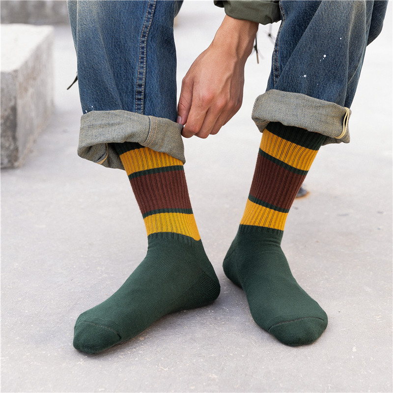 Striped Men's Long Socks Autumn New Sports Leisure Striped Cotton Socks Fashion Breathable Deodorant Comfortable Men Happy Socks
