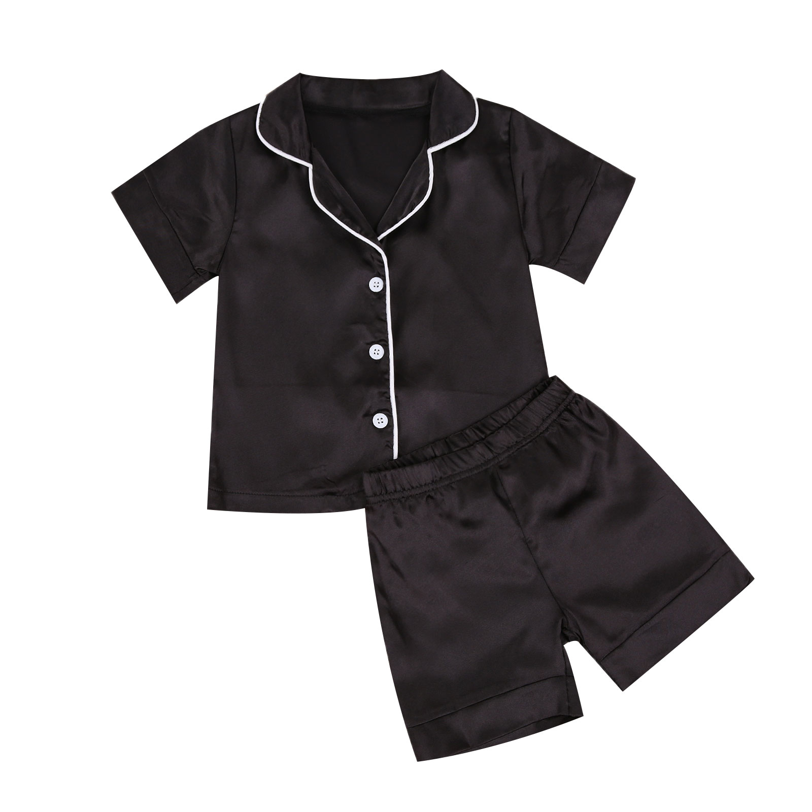 Children Sleepwear Shorts Pajamas-Sets Satin Toddler Baby-Boys Summer Black Infant Solid