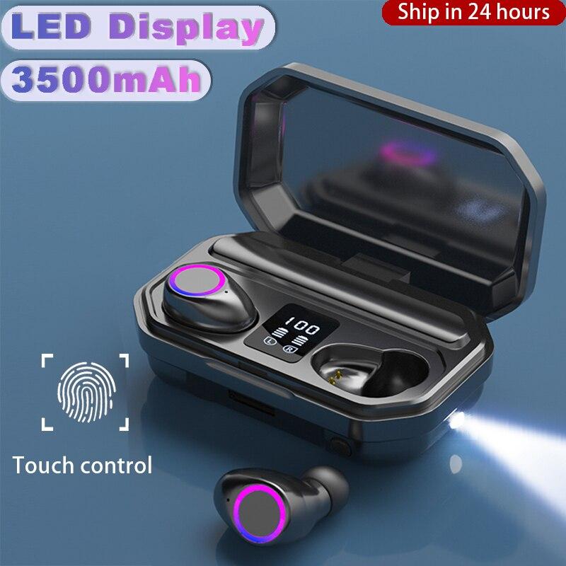 3500mAh Wireless Headphones Bluetooth 5 0 Earphones Earbuds TWS Sport 9D Stereo HIFI Headset Noise Cancel LED Display Waterproof