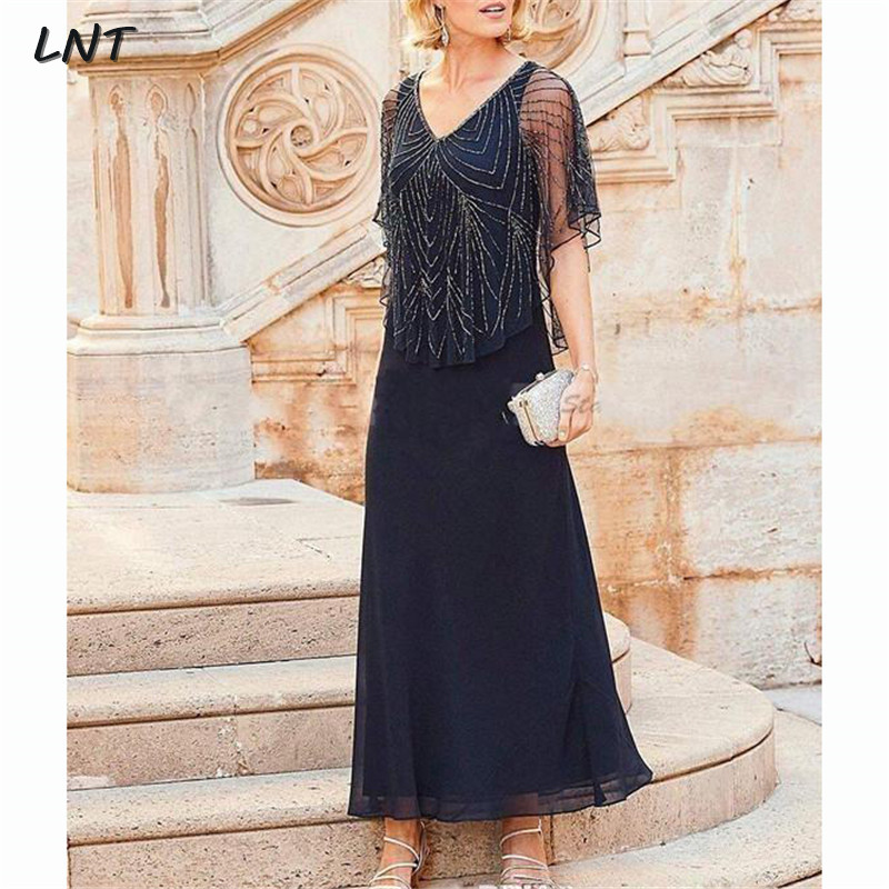 V Neck Ankle Length Dark Navy Mother Of The Bride Dress With Beads Wedding Guest Dress Plus Size