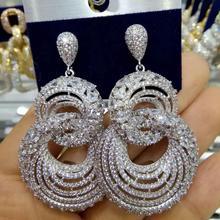 GODK 55 مللي متر 2019 جديد عصري المرأة أقراط مجوهرات الأزياء AAA زركون إسقاط أقراط للنساء الزفاف حزب اكسسوارات
