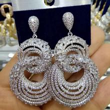 GODK 55mm 2019 Neue Trendy Frauen Ohrringe Modeschmuck AAA Zirkonia Tropfen Ohrringe Für Frauen Hochzeit Zubehör