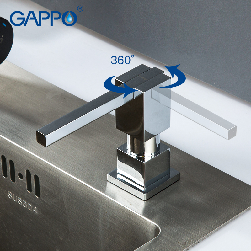 GAPPO Liquid Soap Dispenser Stainless Steel Deck Mounted Kitchen Soap Dispensers Black Built In Counter Top Dispenser