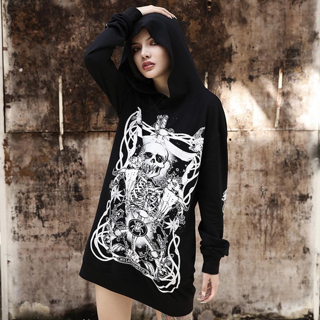 Women Sweatshirt Style Print Hood Gothic Punk Casual Long Sleeve Hoodies Tops~