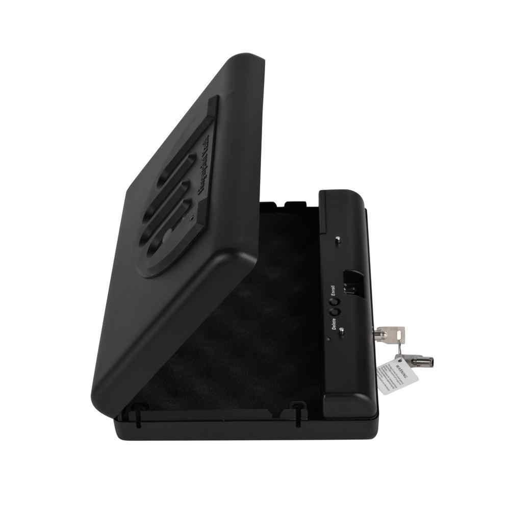 Silah kasaları taşınabilir parmak izi kasa katı çelik güvenlik anahtar kilit kasaları para değerli takı tabanca kutusu Mini araba güvenli