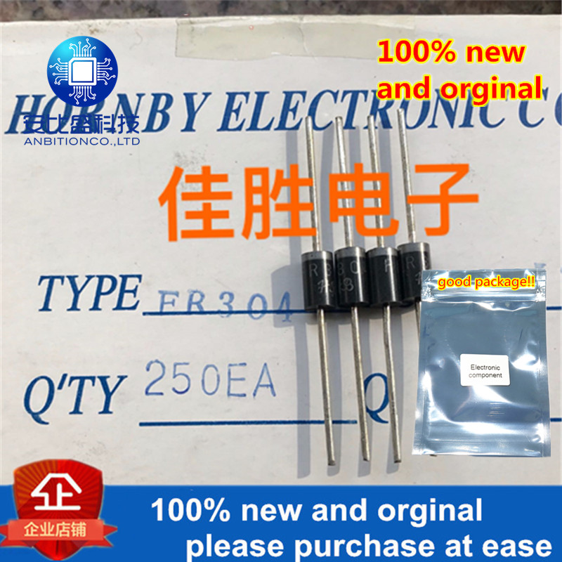 100pcs 100% New And Orginal 3A400V  Fast Recovery Diode DO-201AD Silk-screen FR304 In Stock