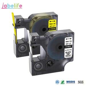 Labelife 1Pack 18057 18058 Black on White,Yellow 19mm for DYMO Rhino IND Heat Shrink Tubes LabelWriters PRO1000 Rhino3000 4200(China)