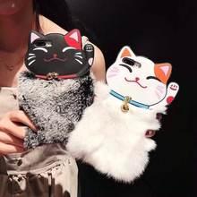 Из меха кролика породы Рекс lucky cat Чехол для iphone xs max