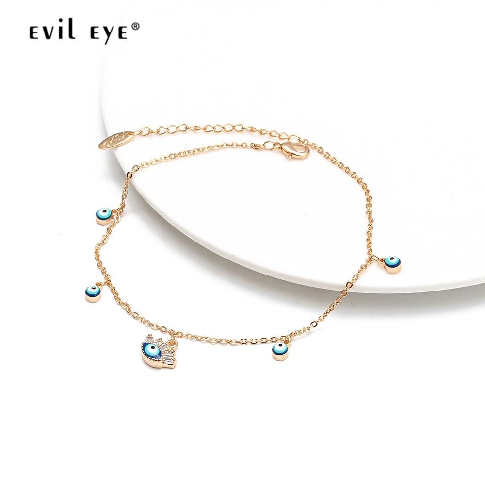 EVIL EYE Multi Color Turkish Eye Charm Anklet Gold Silver Color Chain Ankle Bracelet Adjustable for Women Girls Jewelry BD239