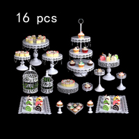 White silver Cough Stands Wedding Cupcake Stands Set Glass Dome Crystal Candy Bar Decoration Cough Tools Baking Set 4 18 Pieces