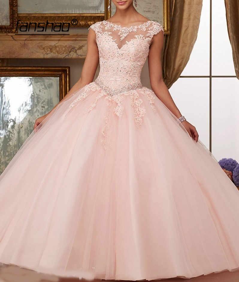 Biru Pink Merah Quinceanera Gaun Appliques Manik-manik Bola Gaun Gemerlapan Sweet 16 Tahun Putri Gaun untuk 15 Tahun Vestidos