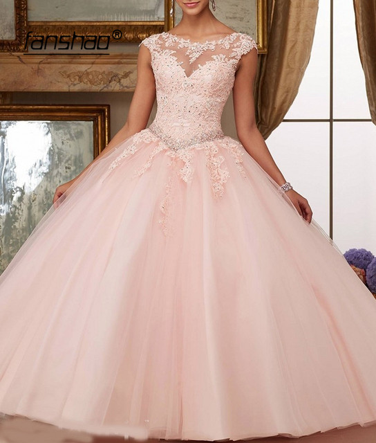 Fanshao Quinceanera Dresses Appliques Beads Scoop Neck Ball Gowns Sparkly Sweet 16 Year Princess Dresses For 15 Years Vestidos