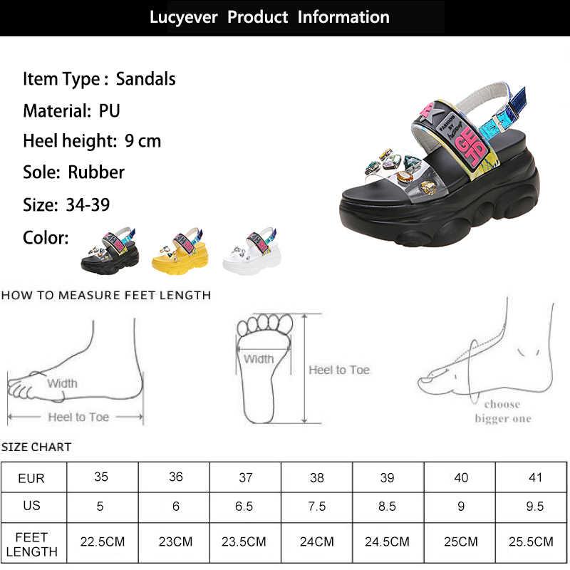 Lucyever 2020 yaz yeni sandalet kadın kalın platformu takozlar ayakkabı kadın moda taklidi kristal düz burnu açık sandalet