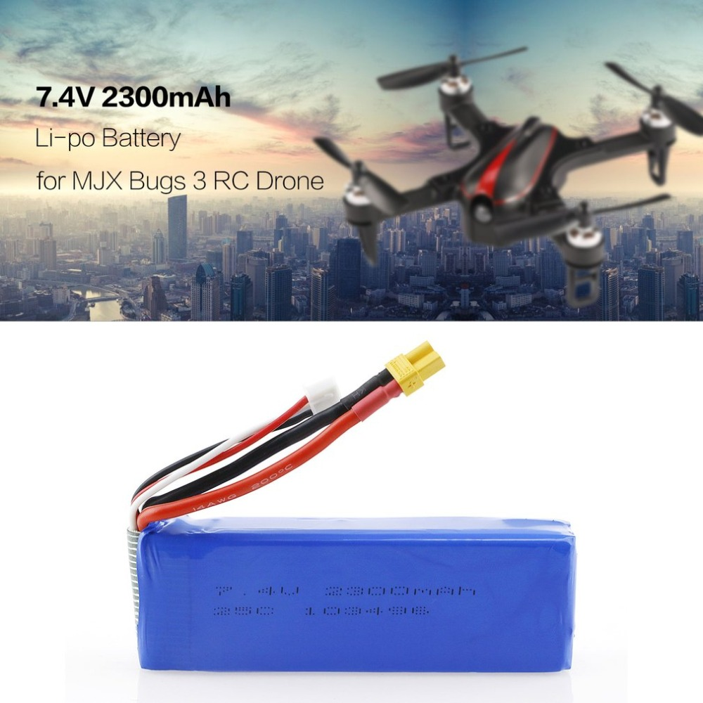 RC Upgraded <font><b>7.4V</b></font> 2300mAh 2S 35C <font><b>Li</b></font>-<font><b>po</b></font> Rechargeable Battery with XT30 Plug Spare Parts Accessories for MJX Bugs3/6 B3/B6 RC Drone image