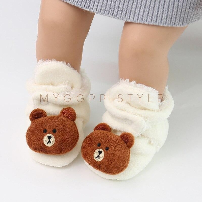 Newborn Baby Socks Shoes Boy Girl Booties Cartoon Winter Fluff Warm Toddler Prewalks Comfort Soft Anti-slip Infant Light Crib