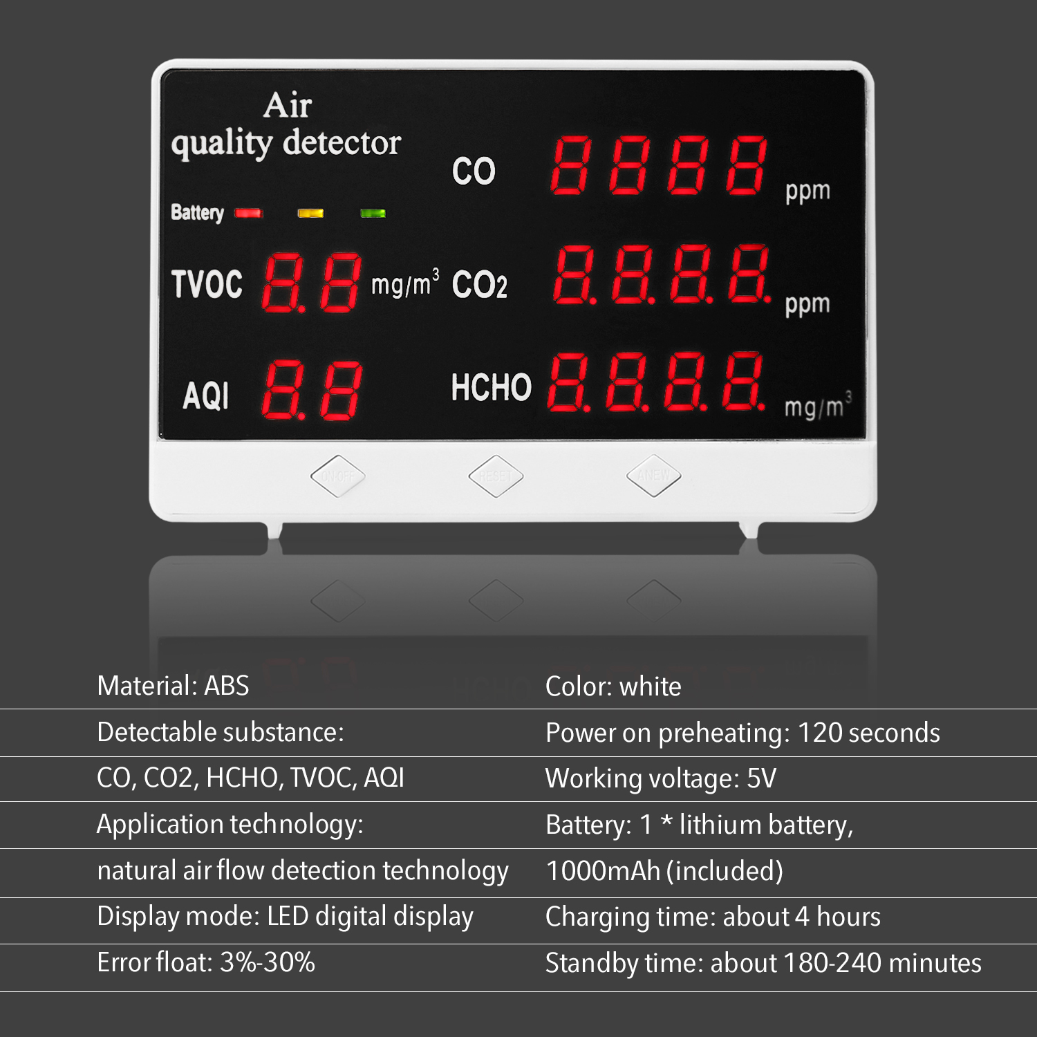 Gas Tester HCHO CO2 Monitor Digital Multifunctional Quality Indoor TVOC Air Meter Detector Analyzer CO Outdoor Household