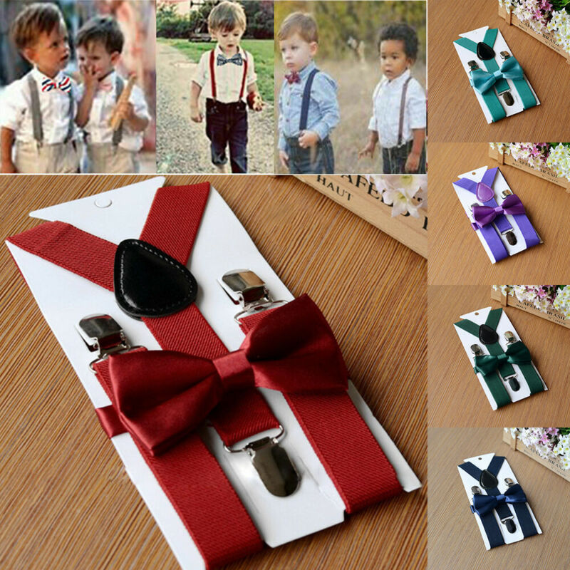 Solid Children Bowtie Belt Set Y Back Suspenders Bow Tie Elastic Kids Fashion US