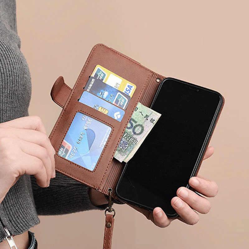 כרטיס מחזיק רצועת כבל עור מפוצל Crossbody Flip ארנק מקרה לסמסונג גלקסי Note10 בתוספת Note8 Note9 A10 A40 A50 A71 a51 A20E