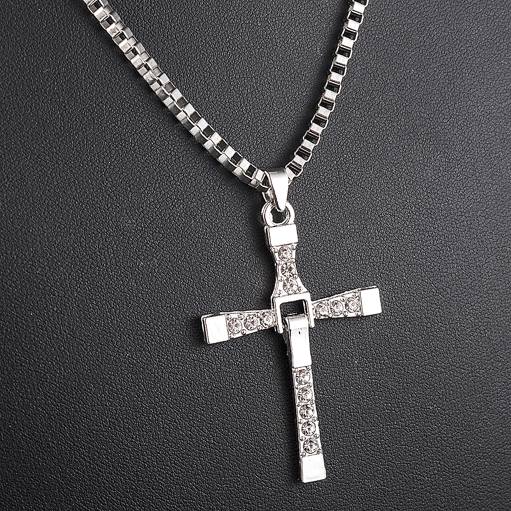 Fast and Furious Movies Actor Dominic Toretto  Rhinestone Cross Crystal Pendant Chain Necklace Men Jewelry 1