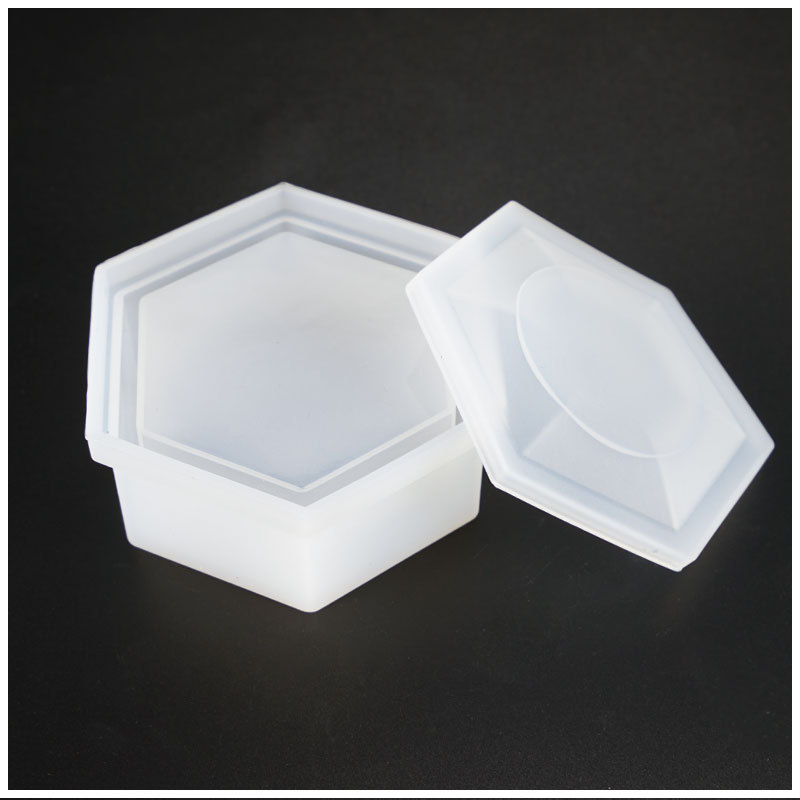 Transparent Hexagon Storage Box Silicone Mold DIY Handmade Jewelry  Tool Moulds UV Epoxy Resin Decorative Craft Wholesale