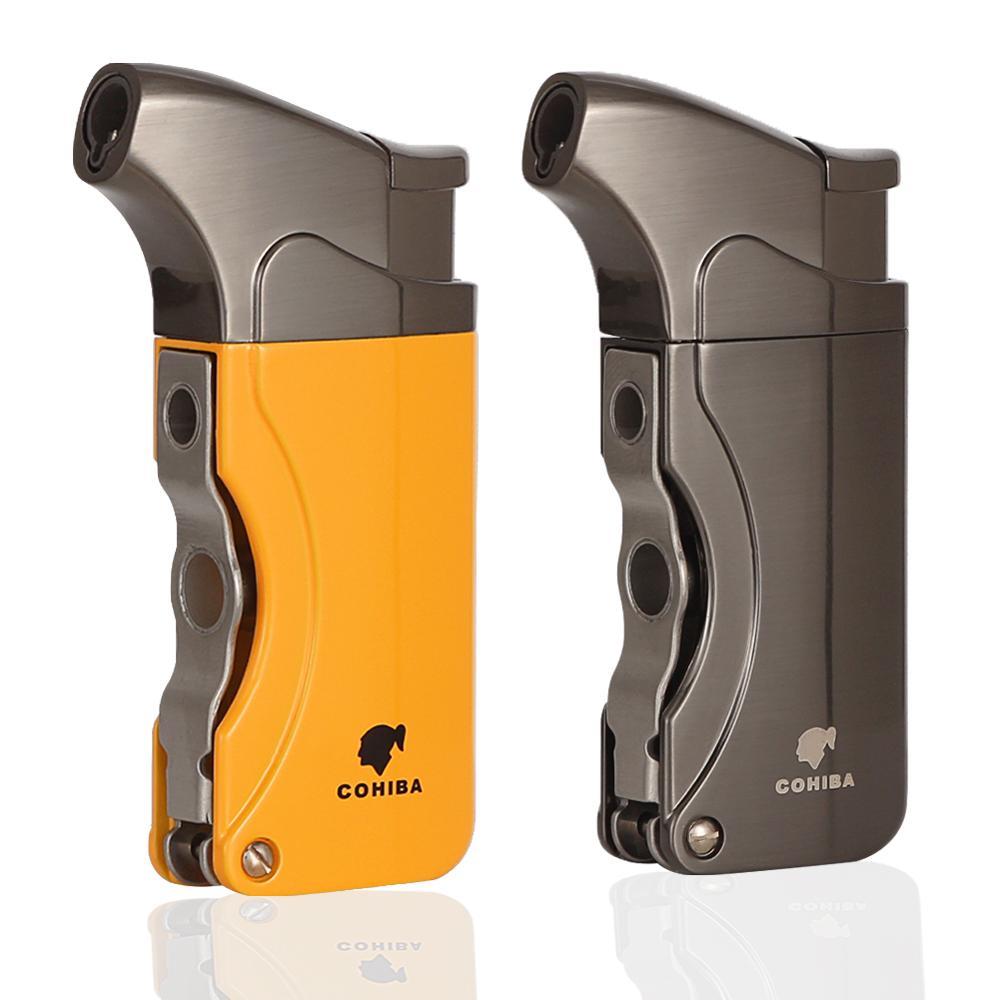 COHIBA Lighters Metal Windproof Butane Gas Lighter Refillable Torch Jet Flame Cigarette Cigar Lighter Built-in Cigar Punch