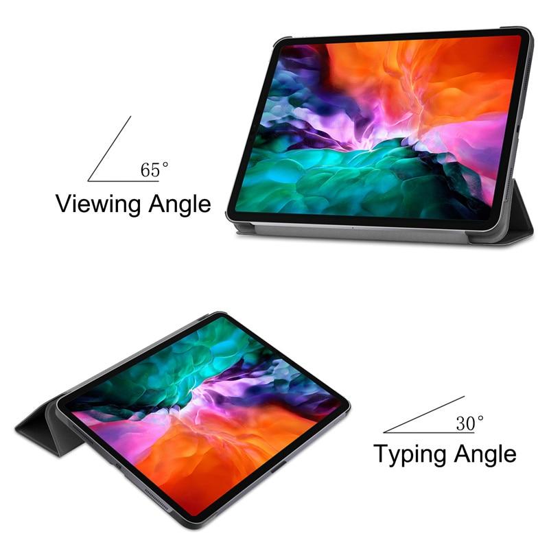 iPad Case Back 9 Case Pro 2020 12.9 2021 For Folding Cover 12 Smart iPad Hard PC for Pro 2021 Stand Funda Leather A2461 2018 PU